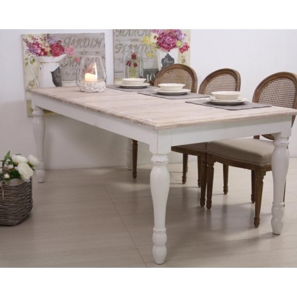 Tavolo legno bianco shabby chic mobili provenzali on line for Tavolo bianco legno