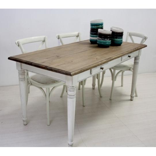 Tavolo legno fisso bianco shabby mobili provenzali on line - Tavolo shabby chic ...