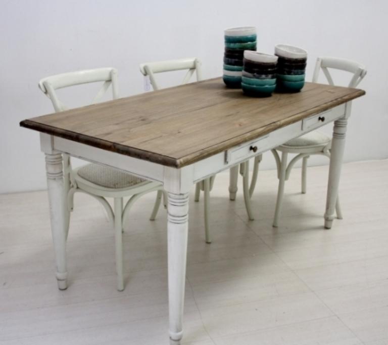 Tavolo legno fisso bianco shabby mobili provenzali on line - Siti mobili on line ...