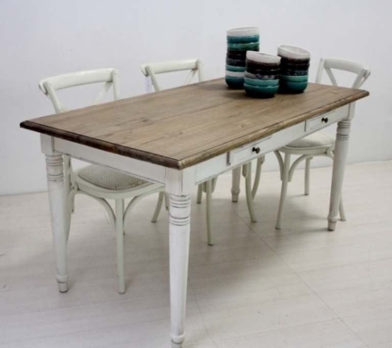 Tavolo legno fisso bianco shabby mobili provenzali on line - Tavolo shabby ...