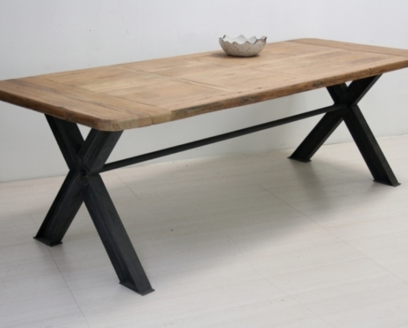Tavolo legno rettangolare base ferro - Mobili Provenzali On Line