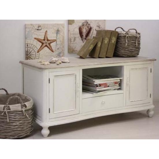 Porta tv legno naturale e bianca Provenzale - Mobili Provenzali