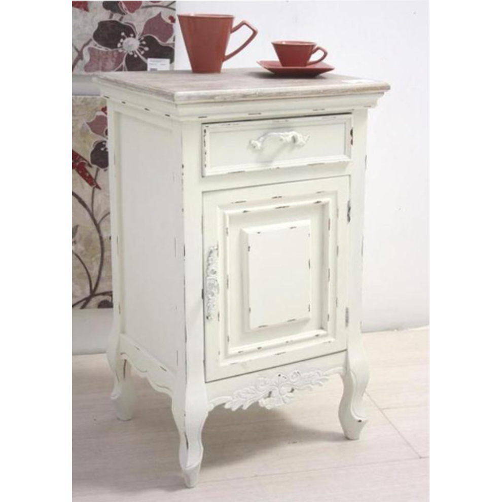 Comodino bianco shabby chic mobili provenzali on line for Mobili country