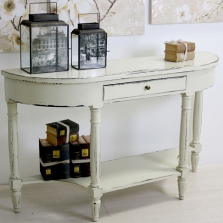 Consolle legno bianco shabby chic mobili provenzali on line for Consolle shabby chic