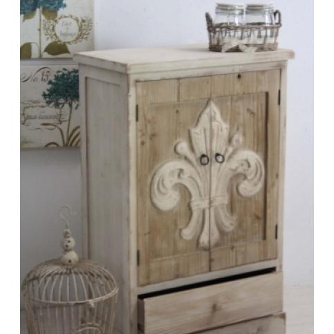 Mobiletto legno naturale country chic mobili provenzali for Mobiletti bassi bagno