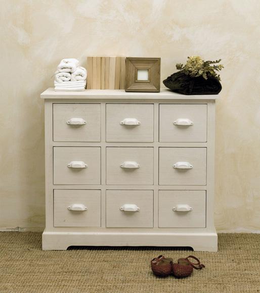 Cassettiera legno bianca provenzale mobili provenzali on for Paulownia legno mobili