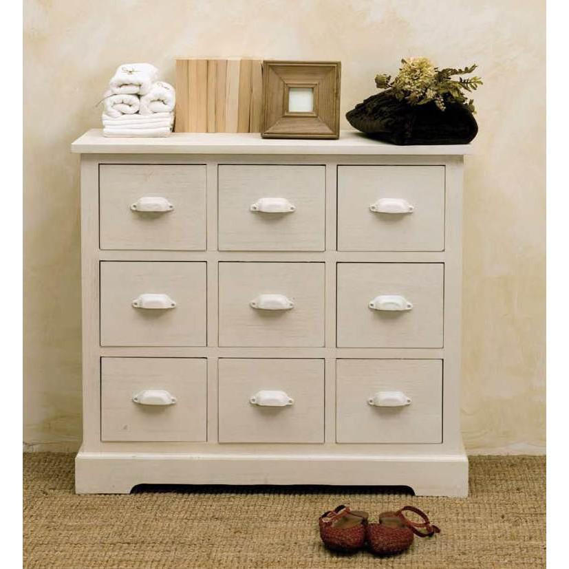 Cassettiera legno bianca provenzale mobili provenzali on for Cassettiera legno