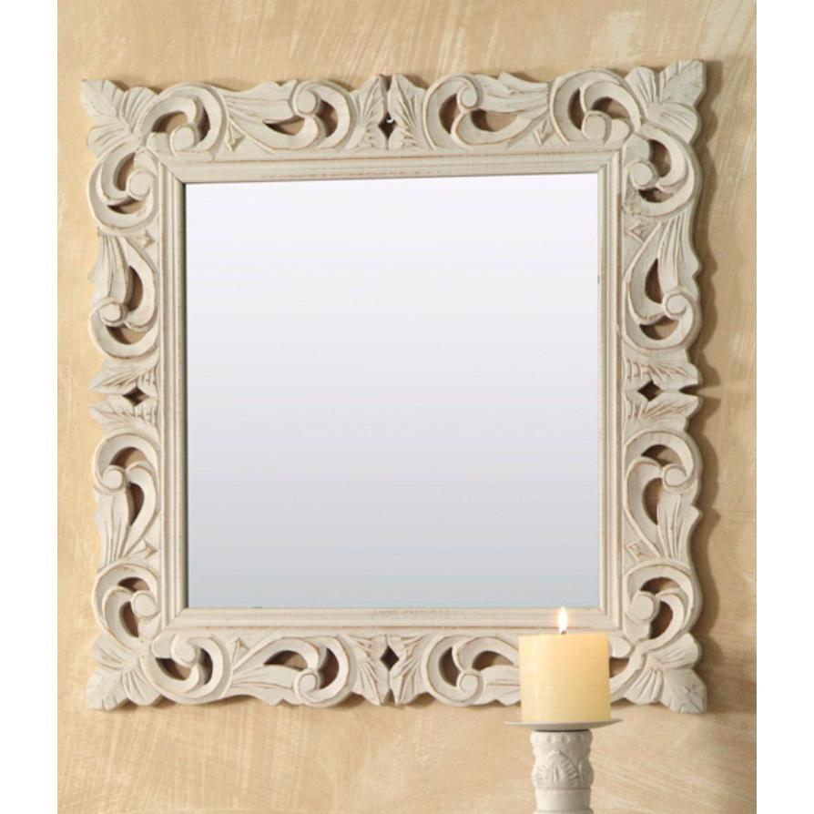 Specchio legno intarsiato quadrato bianco mobili - Specchio bianco ...