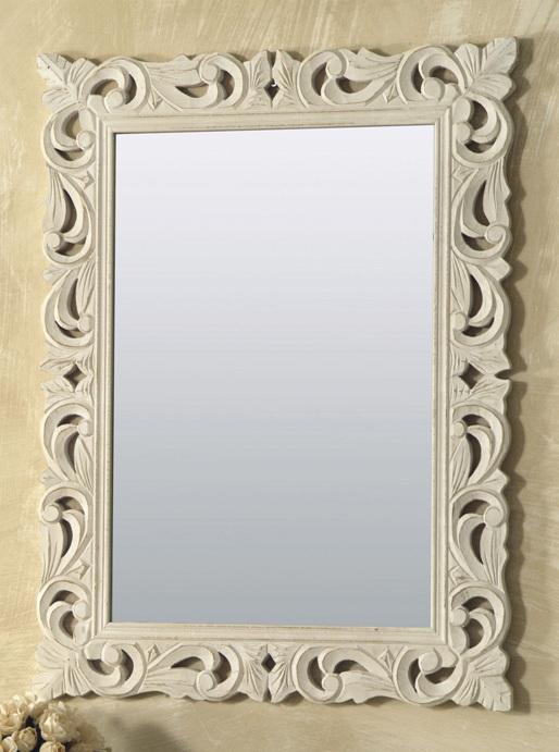 Specchio legno intarsiato rettangolare bianco mobili provenzali on line - Specchio in francese ...