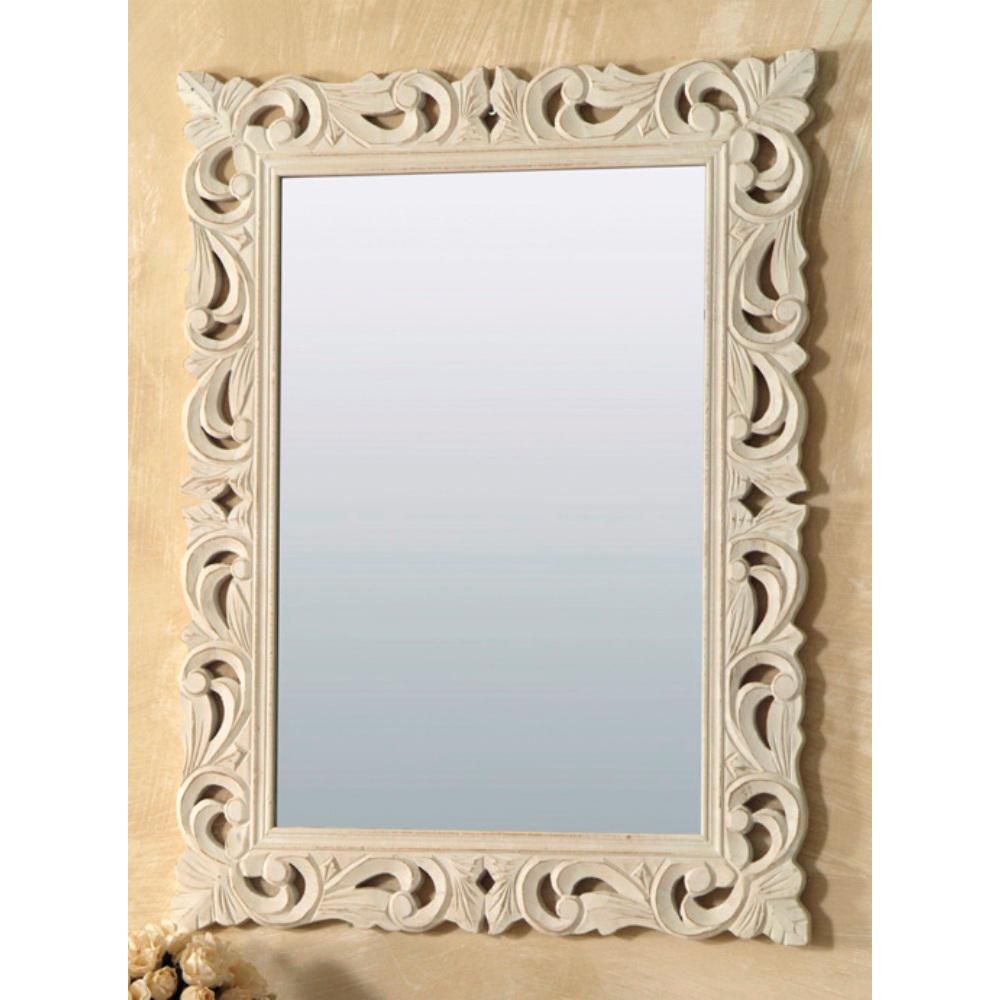 Specchio legno intarsiato rettangolare bianco mobili - Specchio bianco ...