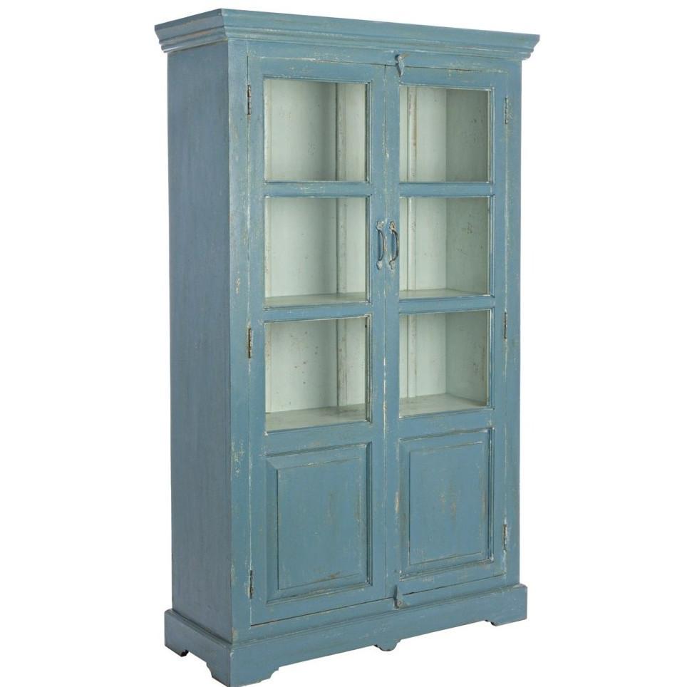 Vetrina legno blu shabby chic mobili provenzali on line for Credenze alte