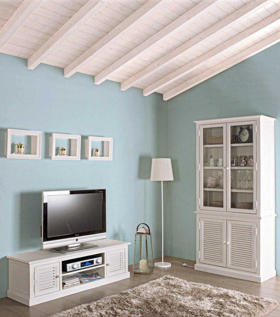 Porta tv legno bianco provenzale mobili provenzali on line for Arredamento provenzale on line