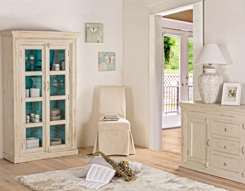 Buffet legno bianco shabby chic mobili provenzali on line - Mobili legno bianco anticato ...