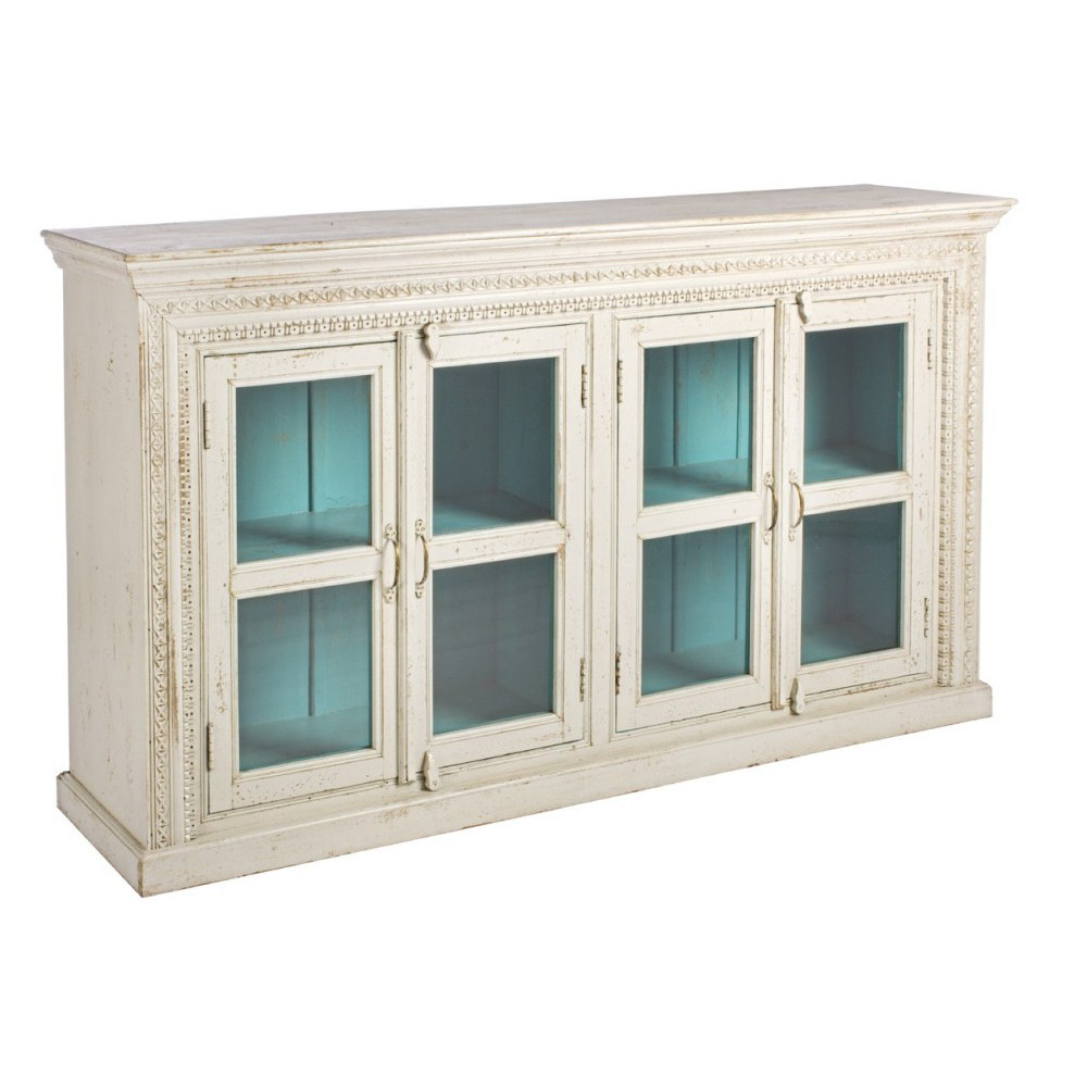 Credenza legno bianca shabby mobili provenzali on line for Credenza shabby chic online