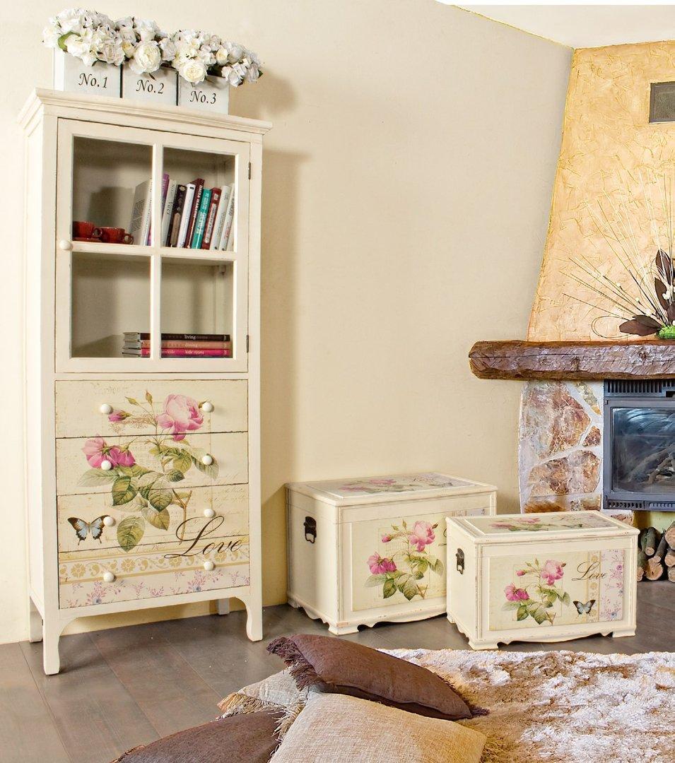 Set 3 bauli legni provenzali mobili provenzali on line for Cassapanche legno