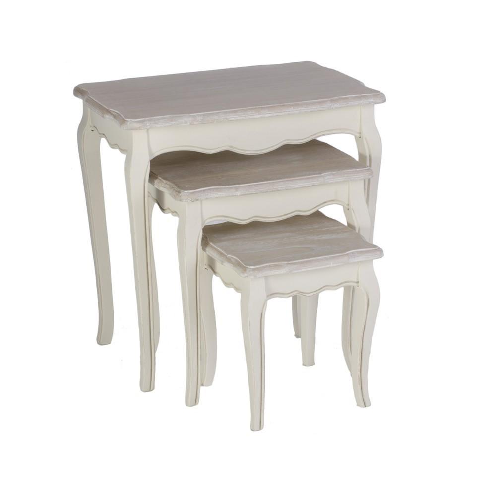 Set 3 tavolini legno bianco mobili provenzali on line for Tavoli shabby ikea
