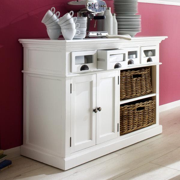 credenza legno bianca con cesti mobili provenzali on line