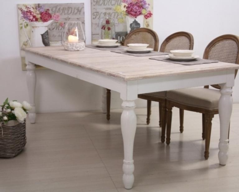 Tavolo legno bianco shabby chic mobili provenzali on line for Tavoli on line