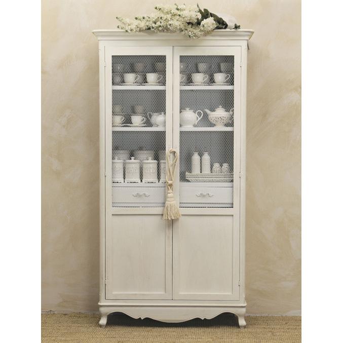 Vetrina legno bianca provenzale mobili provenzali on line for Credenze alte
