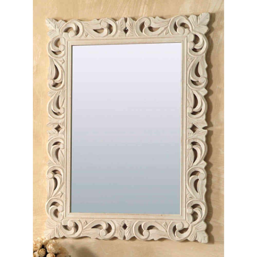 Specchio legno intarsiato rettangolare bianco - Mobili Provenzali ...