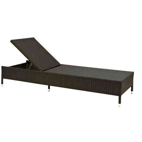 Chaise longue rattan sintetico black