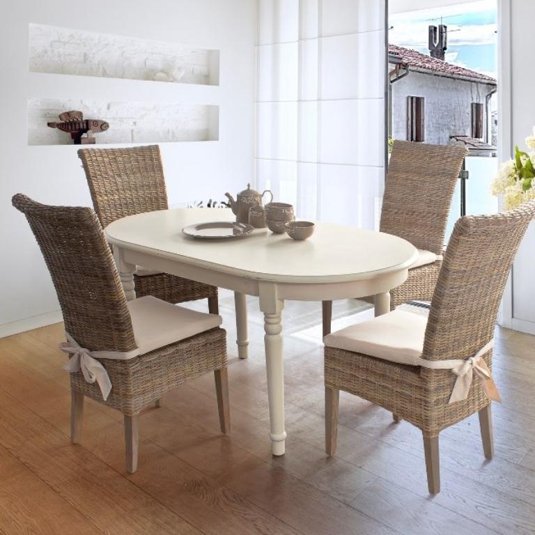 Tavolo ovale bianco mobili provenzali on line for Tavolo ovale bianco design