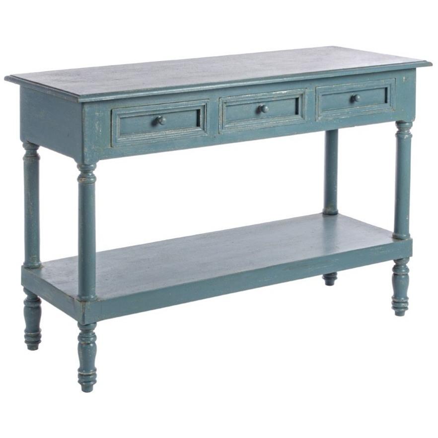 Consolle legno blu shabby chic mobili provenzali on line for Consolle legno