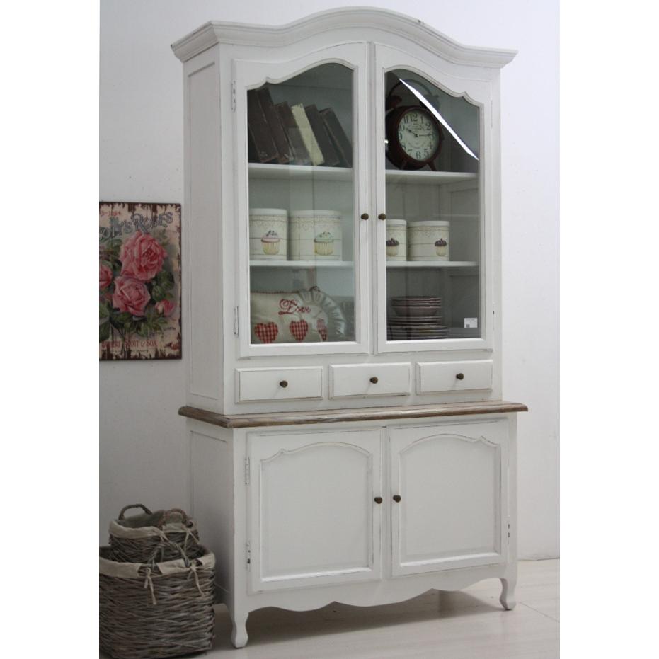 Libreria Soggiorno Prezzi : Vetrina legno bianca shabby chic mobili provenzali on line