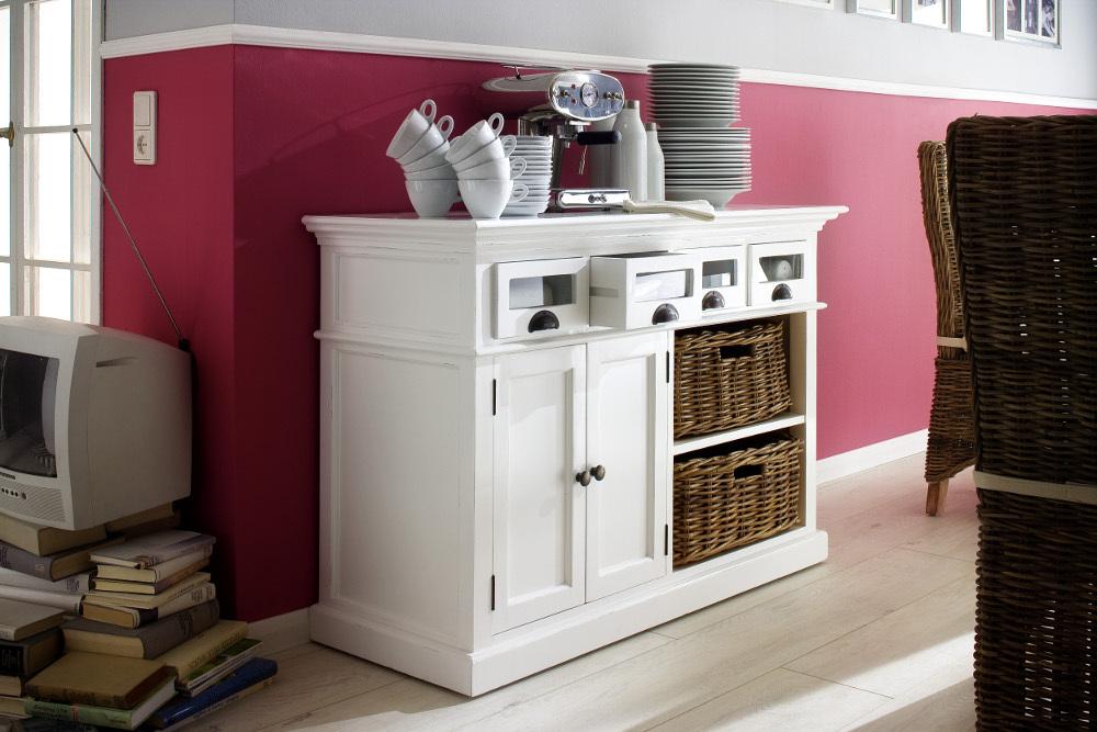 Credenza Con Cestini : Credenza legno bianca con cesti mobili provenzali on line